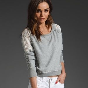 Free People Sweater with Lace Shoulders